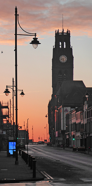 Barrow, Barrow-in-Furness, BarrowAFC, Bromley, Barrow Town Hall, sunrise