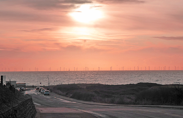 Barrow, Walney Island, Barrow-in-Furness, windfarm, wind turbine, sunset, BarrowAFC, Bromley