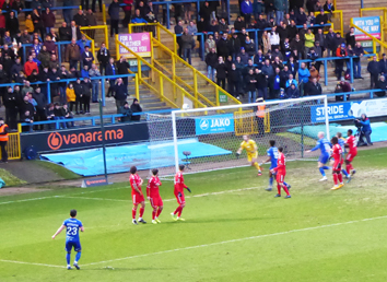 FC Halifax Town, Ebbsfleet United, The Shay, National League, free-kick, last match before the shutdown