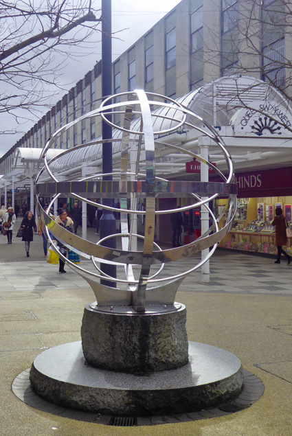 Stevenage, globe, shopping