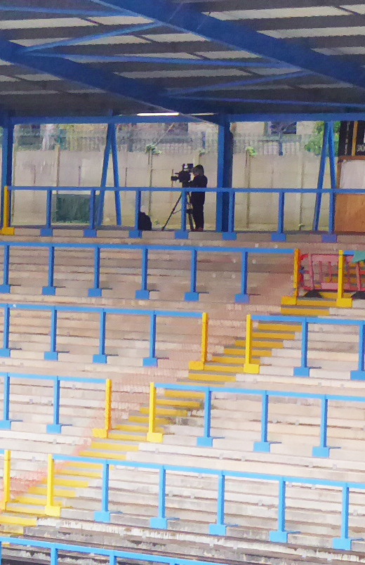 broadcasting, closed doors, camera, empty stand